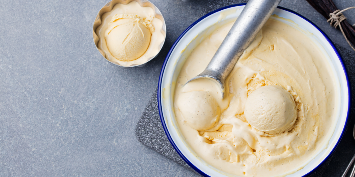 Picture of ice cream being scooped out of a bowl
