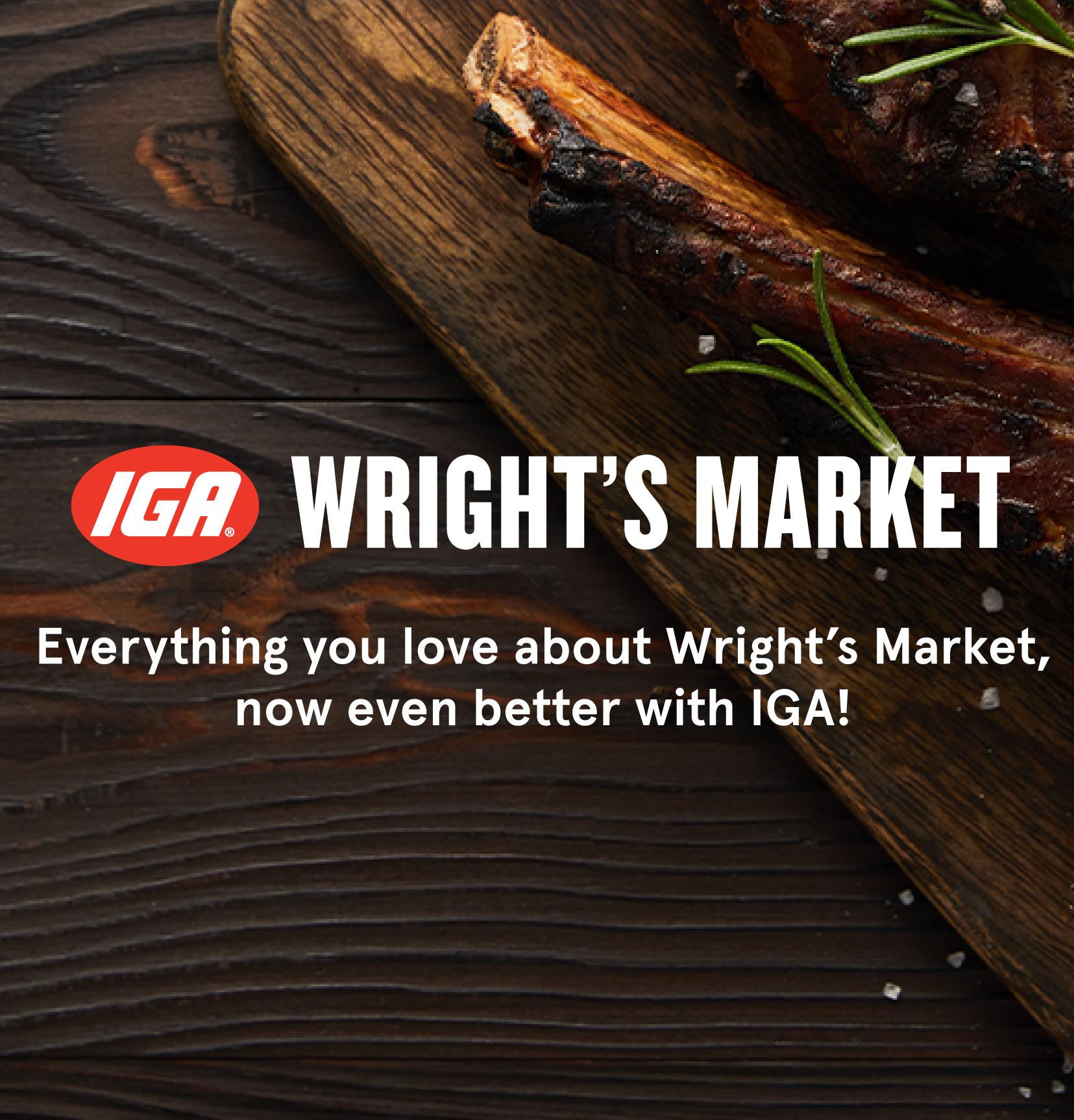 Image of Wright's Market logo on wood grain background